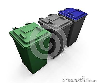 Wheelie bins Stock Photo