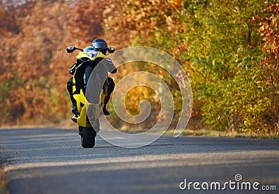 Wheelie on motorcycle