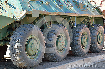 Wheels of armored troop-carrier