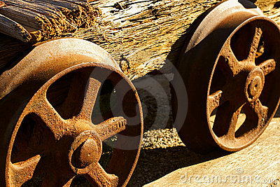 Wheels of old mine cart