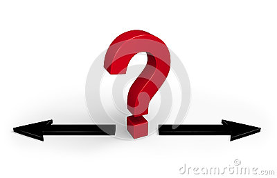 red question mark stands between two black arrows pointing in opposite ...