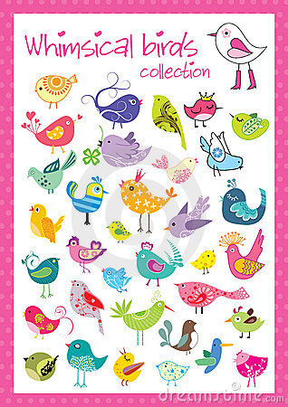 Free Whimsical Birds Collection Royalty Free Stock Photos - 15390208