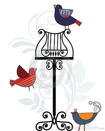 Whimsical birds with music stand