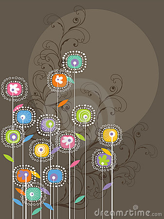Free Whimsical Bright Flowers And Swirls Royalty Free Stock Image - 4480186
