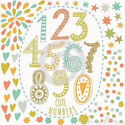 Free Whimsical Hand Drawn Numbers, From One To Zero. Hand-drawn Numbers Vector Sketch Illustration Isolated On White Background Royalty Free Stock Photo - 51060055