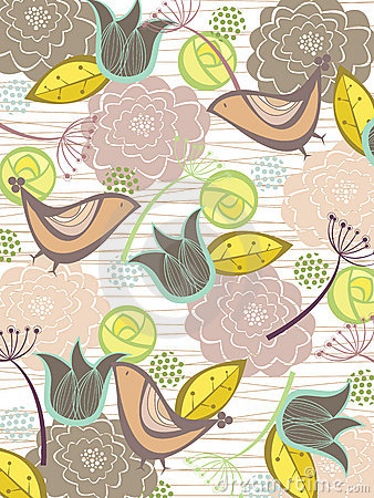 Whimsical nature blooms and birds