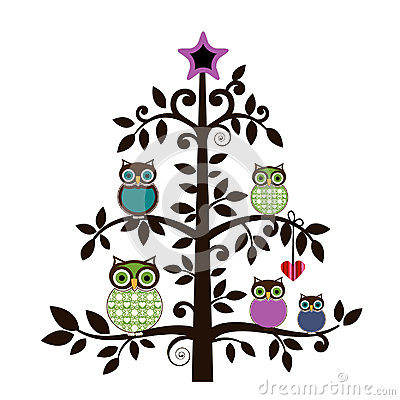 Whimsical owls in a tree Vector Illustration
