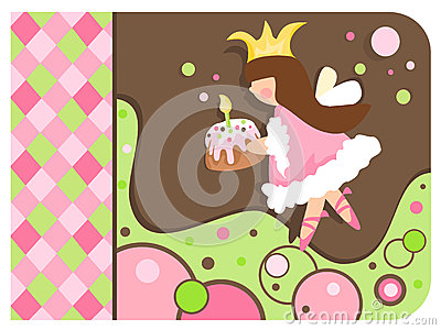 Whimsical Princess holding a cupcake