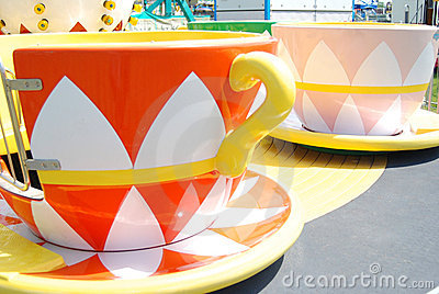 Whimsical tea cup rides at a Carnival