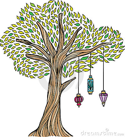 Whimsical Tree with Lanterns