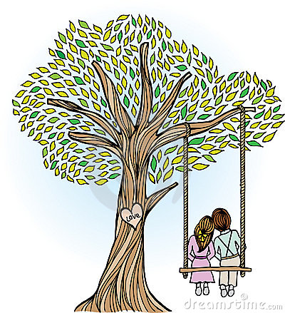 Whimsical Tree with Lovers