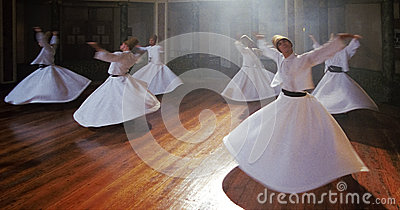 Whirling derwishes during traditional ceremony Editorial Image