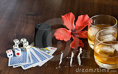 Whiskey,bones and Playing cards