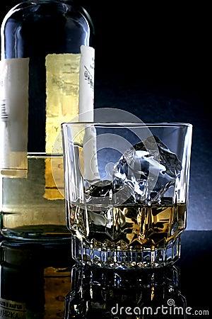 Whiskey Bottle & Glass