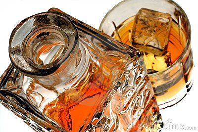 Whiskey Bottle & Glass Isolated