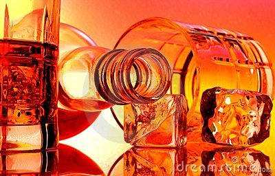 Whiskey Bottle & Glasses Abstract