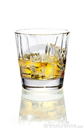 Whiskey or brandy on ice