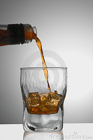 Whiskey/Cognac being poured into a glass