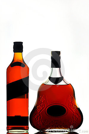 Whiskey and cognac bottles