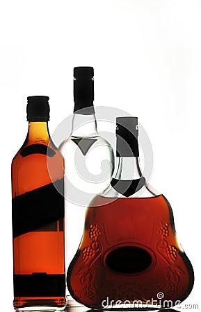 Whiskey cognac and vodka bottles