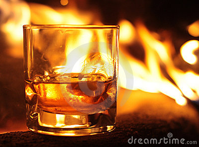 Whiskey Glass and Flames