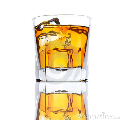 Whiskey Glass with Ice low angle