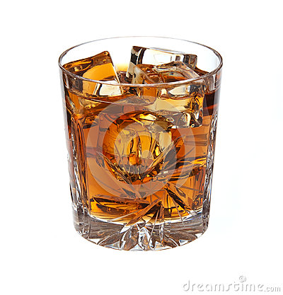 Whiskey with ice isolated
