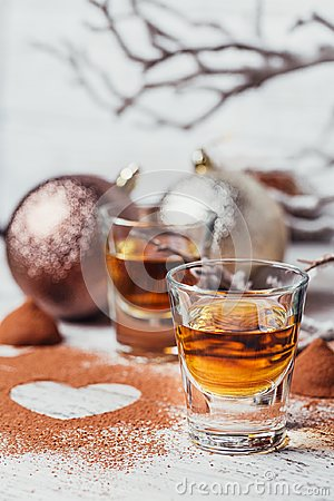 Free Whiskey Or Liqueur, Truffle Chocolate Candies In Cocoa Powder An Stock Photography - 103572542