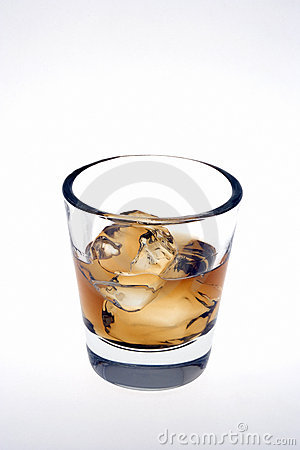 Whiskey on the rocks on a white background