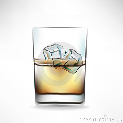 Whisky glass with beverage