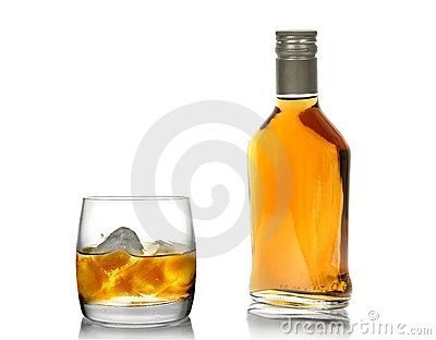 Whisky in a glass (with an ice) and a bottle(2)
