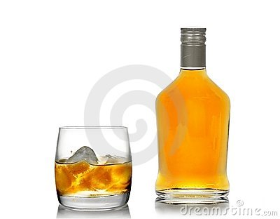 Whisky in a glass (with an ice) and a bottle