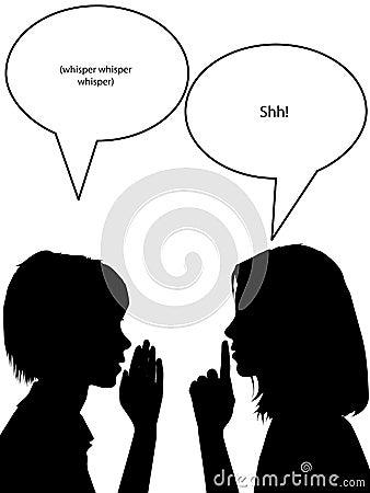 Free Whisper Shh Silhouette Women Tell Secrets Stock Images - 11988044