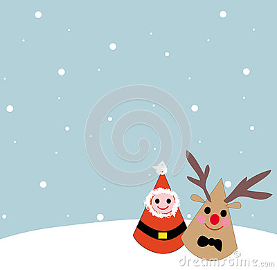 Whit christmas santa clause and reindeer cartoon