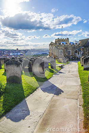 Free Whitby Churchyard And Cemetery In North Yorkshire In England Stock Image - 69569921