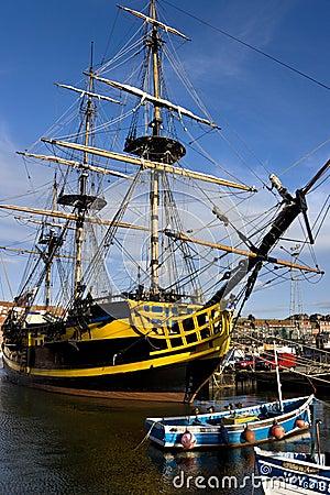 Whitby Harbor - The Endeavor - England Editorial Photo