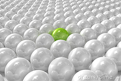 White 3D balls with green one standing out