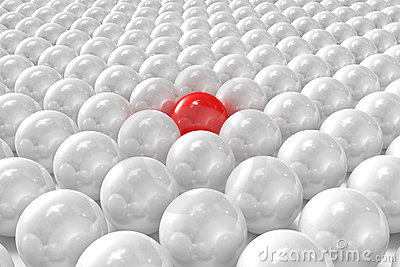 White 3D balls with red one standing out
