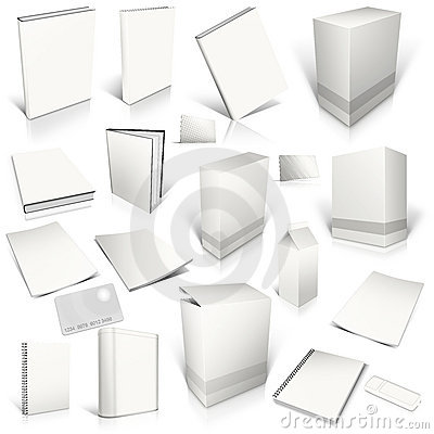 Free White 3d Blank Cover Collection Stock Images - 23262244