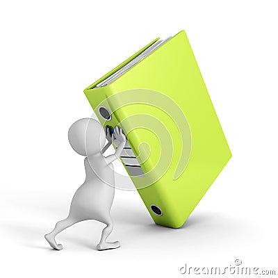 Free White 3d Man Push Up Big Green Ring Binder Royalty Free Stock Images - 45628169