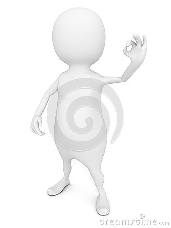 Free White 3d Man Showing OK Hand Fingers Sign Royalty Free Stock Photography - 30513957