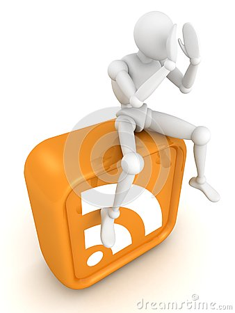 White 3d man sitting on orange RSS icon