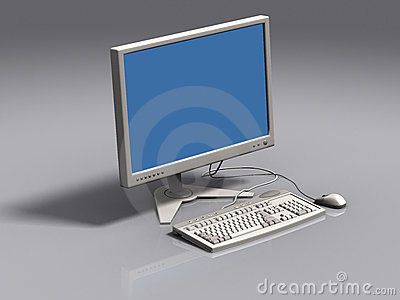 White 3d model of keyboard, monitor and mouse