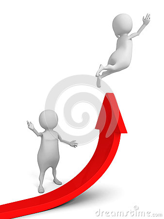 Free White 3d People With Red Rising Arrow. Success Partnership Conce Royalty Free Stock Photo - 48553445