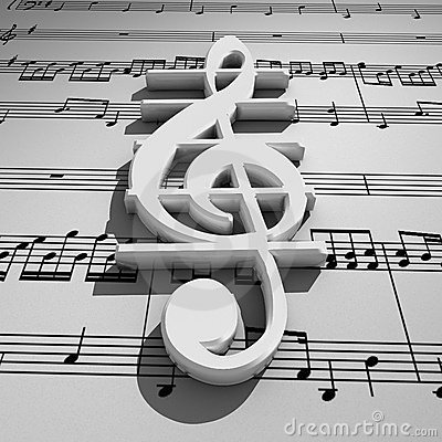 White 3d treble clef with shadow on staff backgrou