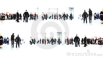 White abstract. people in hall