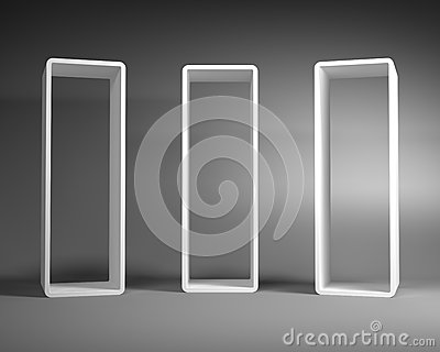 White Abstract Rectangle Frames Standing in the Gray Room