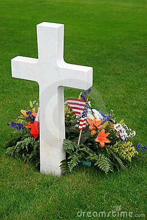 White American cross and flowers