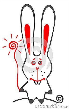 White amusing rabbit