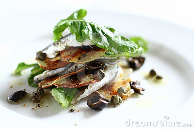 White anchovies salad with arugula, potato